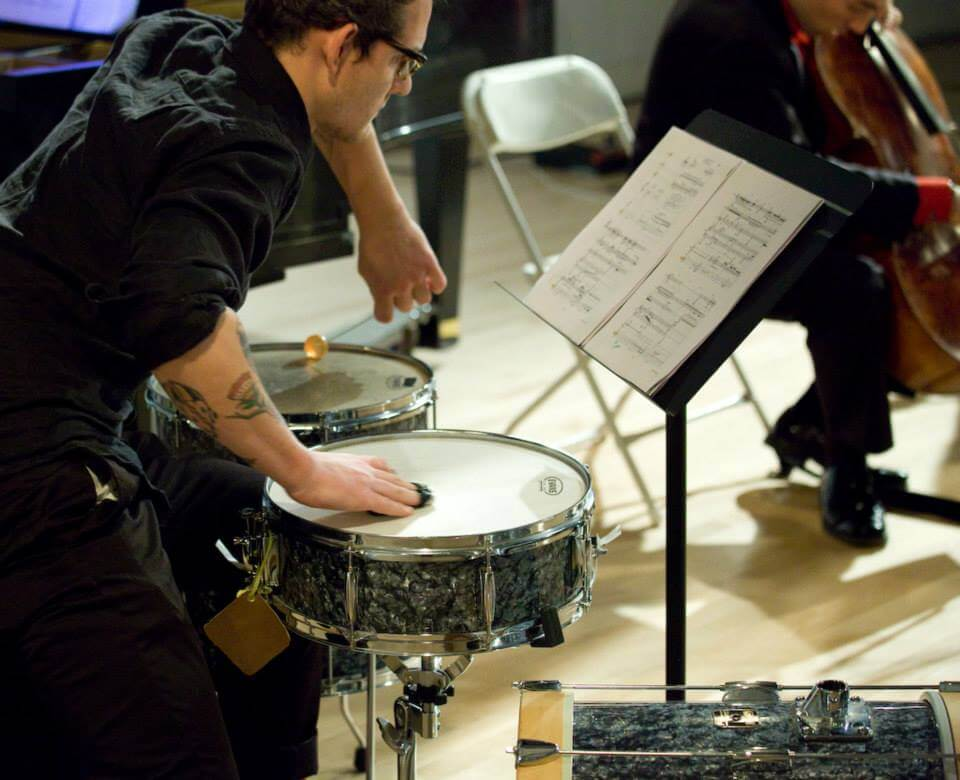 Fonema Consort with percussionist Ryan Packard in Dust Unsettled Thomas Mesa